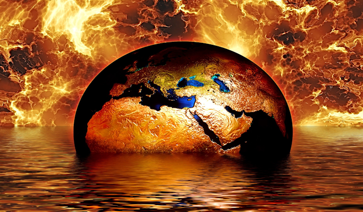 Earth On Fire In Water